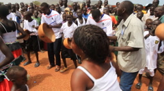 DANCERS AT POLITICAL RALLY IN SOUTH SUDAN, AFRICA Stock Footage