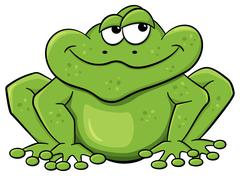 green cartoon frog isolated on white - stock illustration