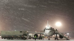 Snowstorm at the airport. - stock footage