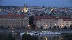 ULTRA HD 4K Aerial view Prague church tower traffic street twilight landmark old Stock Footage