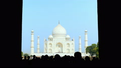 First glimpse of Taj Mahal, bustling crowd Stock Footage