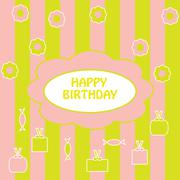 Colorful  greeting happy birthday Stock Illustration