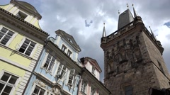 ULTRA HD 4K Medieval tower old town Prague famous heritage architecture day icon Stock Footage