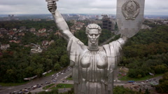 Aerial quadrocopter view of Motherland giant monument sculpture in Kiev, Ukraine Stock Footage