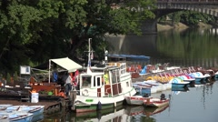 ULTRA HD 4K Entertainment boat Prague Vltava river tourism attraction leisure  Stock Footage