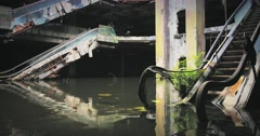 Flooded end empty building. End of the world concept background  - stock footage