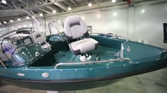 Boats at International boats and yachts exhibition Stock Footage