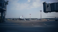 Airport gates luggage loading Stock Footage