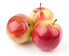 Three red apples Stock Photos