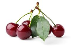 Fresh cherries with leaf - stock photo
