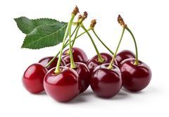 Juicy cherries with leaf Stock Photos