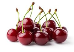 Ripe cherries hill - stock photo