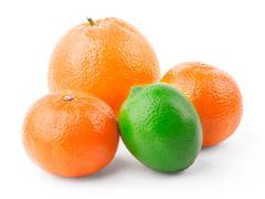 Orange, tangerine and lime - stock photo