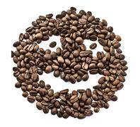 Smiley from coffee beans - stock photo