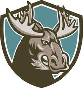 Angry Moose Mascot Shield Piirros