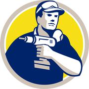 Handyman Holding Power Drill Circle Retro Stock Illustration