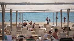 Turkey, Side - May 25, 2015: Summer beach and european people in Turkey Stock Footage