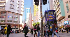 Chinese nationals crossing busy street of Hongkong downtown. Central district - stock footage
