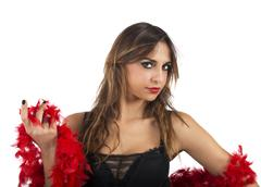 Red boa girl - stock photo