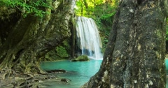 Amazing nature video background. Beautiful waterfall in tropical rainforest - stock footage