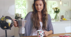 Friends getting ready drinking coffee at home Stock Footage
