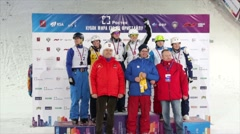 Award ceremony of winners during freestyle skiing world cup - stock footage