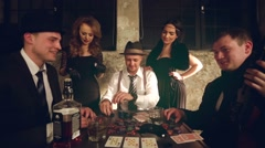 Gang of gangsters playing poker. Stock Footage