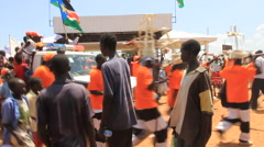 Protesters with Waving Flag in SOUTH SUDAN, AFRICA Stock Footage