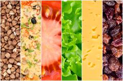 Collage of healthy food backgrounds Stock Photos