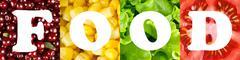 Healthy food word background Piirros
