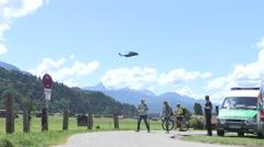 Protest climb in Alps towards Schloss Elmau Stock Footage