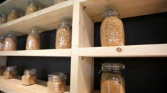 Jars with Assorted Cereals Stock Footage