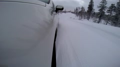 Car drifting and skidding on winter road Stock Footage
