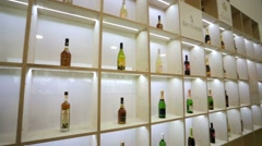 Wine, champagne and cognac bottles Stock Footage