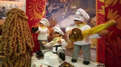 "Chef dolls ""Volga baker"" at the Prodexpo Stock Footage"