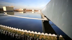 Waste water treatment (circular sedimentation tank). Stock Footage