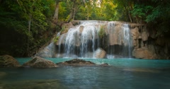 Amazing nature background. Idyllic waterfall in beautiful forest  Stock Footage