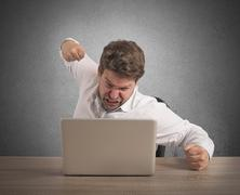 Stressed and overworked businessman Stock Photos