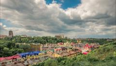 Kiev, capital of Ukraine. View of old town Kyiv. Houses. Panorama. Timelapse. Stock Footage