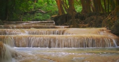 Beautiful nature background of many cascades and small waterfalls in forest Stock Footage