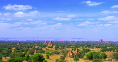 Time lapse of moving clouds over ancient temples and Buddhist pagodas of Bagan Stock Footage