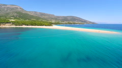 Aerial view of beautiful sandy bay in Bol on the island of brac, Croatia. Stock Footage