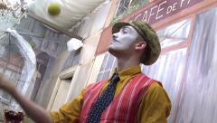 Stock Video Footage of Paris clown juggles balls