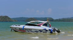 Motorboat on Ao Nang Beach, Thailand Stock Footage