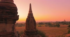 Amazing ancient architecture of Bagan temples in Myanmar (Burma) at sunset - stock footage
