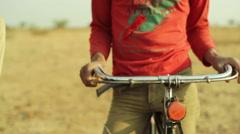 Holding bicycle handlebar, close up, shallow DOF Stock Footage
