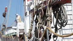 Knots on Old Ship - stock footage