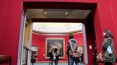 Visitors Are Watching Paintings In The Art Gallery Time Lapse Stock Footage