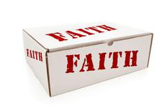 White Box with the Word Faith on the Sides Isolated on a White Background. - stock photo