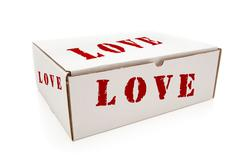 White Box with the Word Love on the Sides Isolated on a White Background. - stock photo